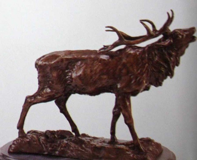 """1216: """"Elk"""" Bronze Sculpture by Mene"""