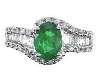 1219: 14kw Emerald & Diamond Ring
