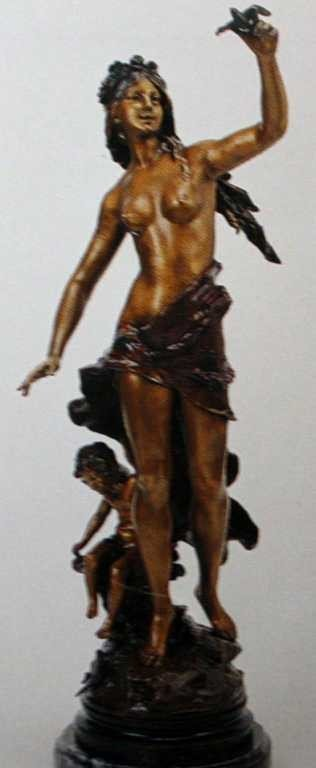 """1221: """"Turbaned Bird Girl"""" Bronze Sculpture by A. Morea"""