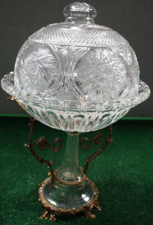 1227: CRYSTAL PEDESTAL COVERED SERVING BOWL WITH BRASS