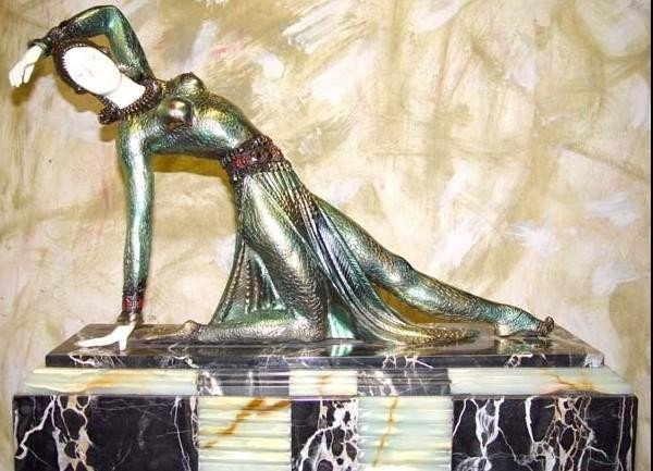 """1723: CHIPARUS - """"EXOTIC DANCER"""" -BRONZE AND IVORY SCUL"""