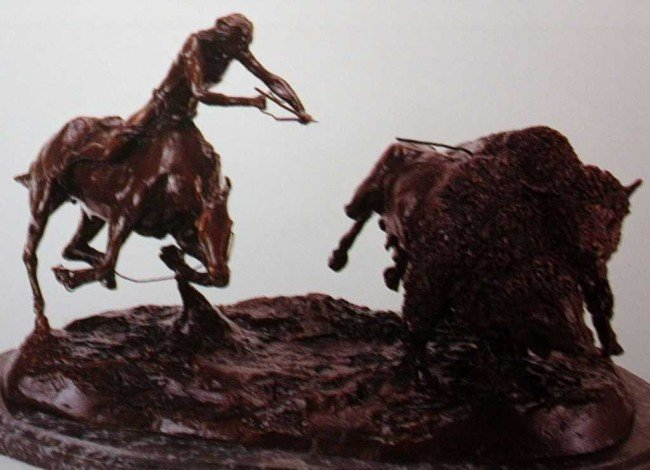 """35: """"Double Buffalo Hunt"""" Bronze Sculpture by Russell"""