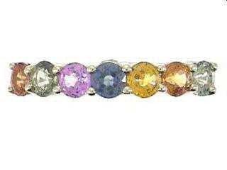 36: 14K Multi Color Sapphire & Diamond Ring