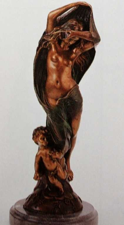 "1257: ""Nude with Cherub"" Bronze Sculpture by Feyrot"