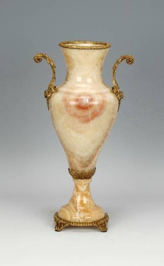 1262: MARBLE AND BRASS VASE