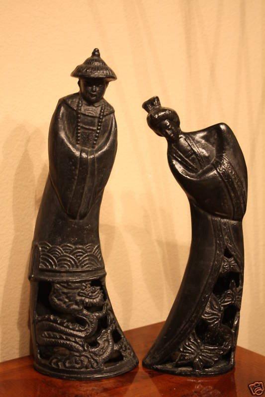 237: Asian Man & Woman Sculptures