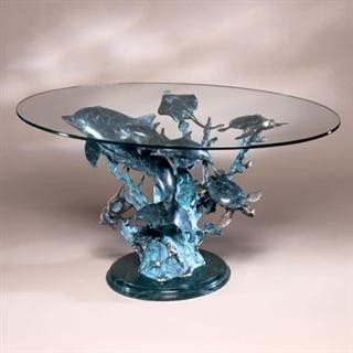 21: Dolphin Sealife Bronze Sculpture Coffee Table