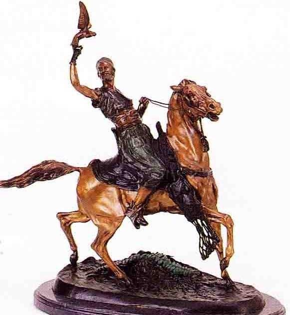 "13: ""Mounted Falconer"" Bronze Sculpture by Mene"