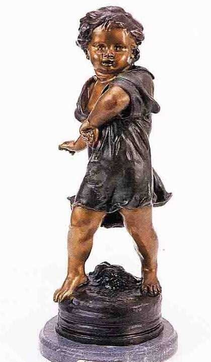 """21: """"Pebble Thrower"""" Bronze Sculpture by A.  Moreau"""
