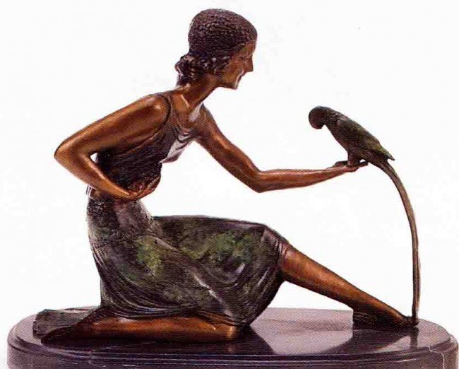 """15: """"Woman With Parrot"""" Bronze Sculpture by Chiparus"""