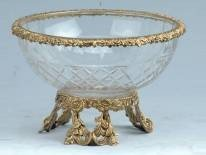 16: FINE CRYSTAL BOWL WITH BRASS