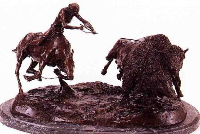 """24: """"Double Buffalo Hunt"""" Bronze Sculpture by Russell"""