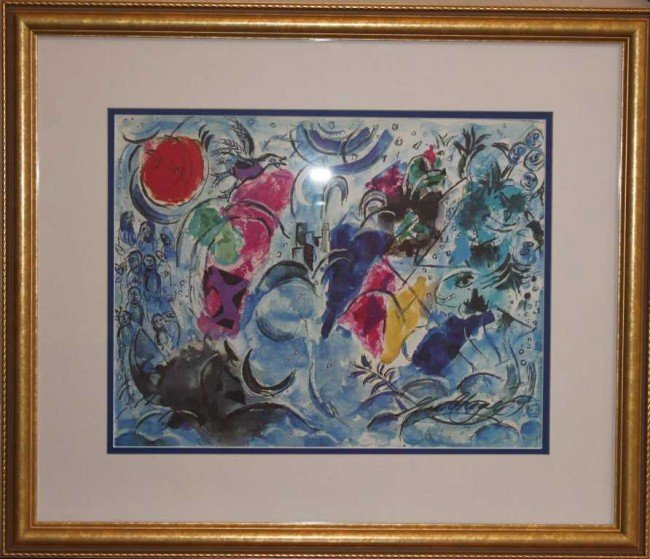 1029: Marc Chagall Hand Signed Lithograph in Colors