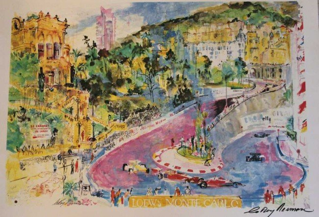 "1056: NEIMAN ""LOWES MONTE CARLO"" HAND SIGNED LITHOGRAPH"