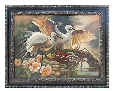 """12: """"MAJESTIC WHITE HERONS"""" - ORIGINAL OIL ON CANVAS"""