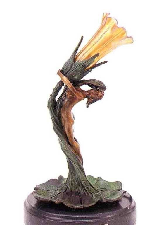 """6: """"Nudes With Tulip"""" Bronze Sculpture Lamp by Gurschne"""