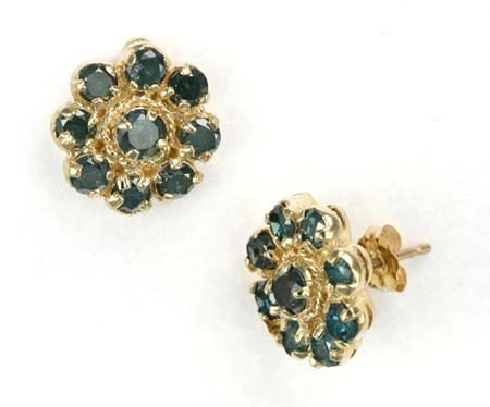 18: 1.50 CTW. BLUE DIAMOND EARRINGS IN 14KY GOLD SETTIN