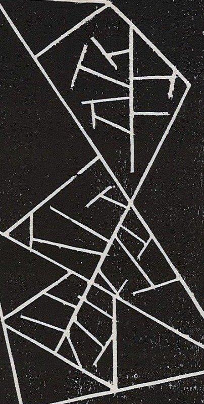 405E: Jean Arp original woodcut, 1947