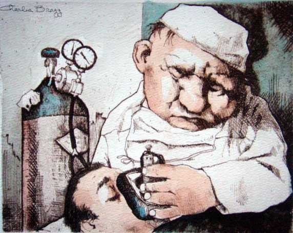"""23: CHARLES BRAGG """"GAS MAN"""" HAND SIGNED LITHOGRAPH"""