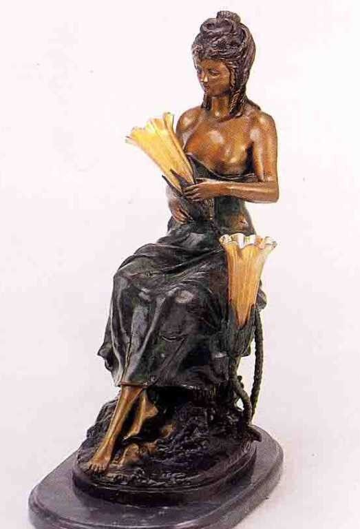 """292: """"Sitting Pretty"""" Bronze Sculpture Lamp by A.  More"""