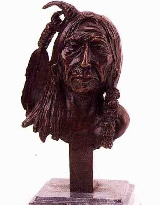 """1: """"Indian Bust"""" Bronze Sculpture by Russell"""