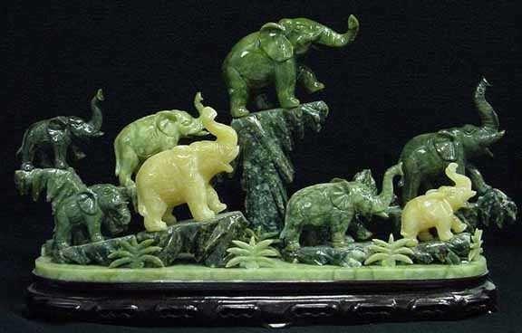 6: ELEPHANT HERD JADE CARVING