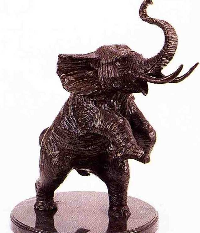 """11: """"Jumping Elephant"""" Bronze Sculpture by Barye"""