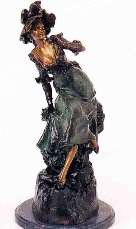 """25: """"Woman With Binoculars"""" Bronze Sculpture by Holla"""