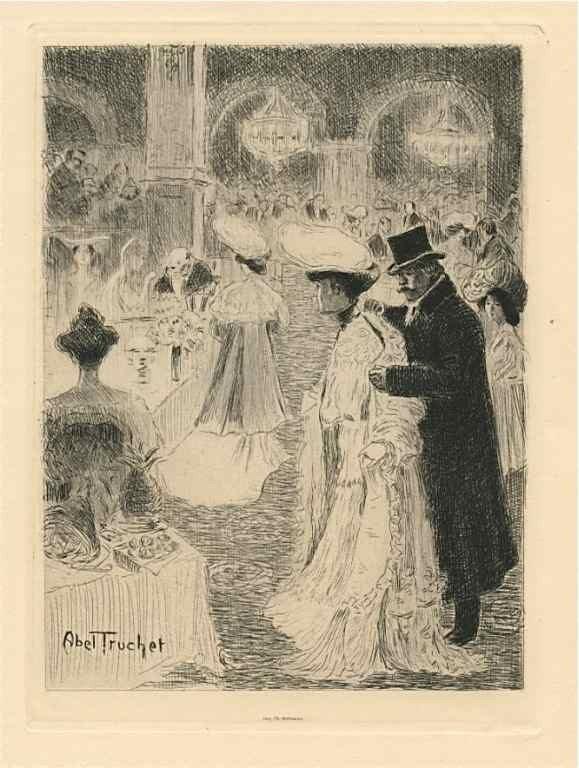 """4: Abel-Truchet original etching """"Le Café de Paris"""""""