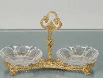 13: GORGEOUS CRYSTAL CANDY DISH ACCENTED WITH BRASS