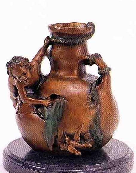 "17: ""Nude Boy on Vase"" Bronze Sculpture by A. Moreau"
