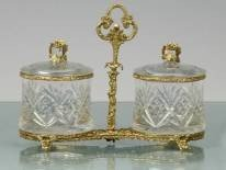 4: HAND CUT CRYSTAL AND BRASS JARS WITH LIDS