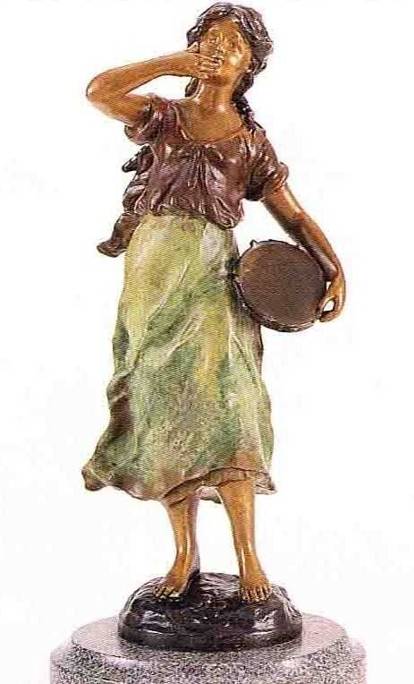 "24: ""Tambourine Girl"" Bronze Sculpture by A. Moreau"