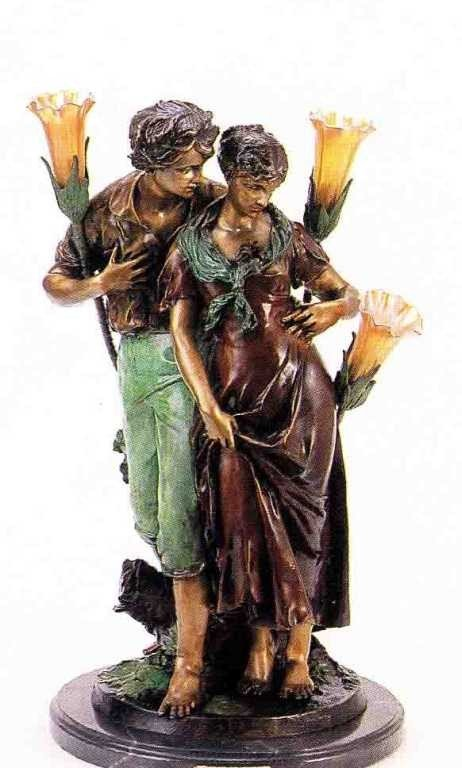 "26: ""Lovers"" Bronze Sculpture Lamp by Madrassi"