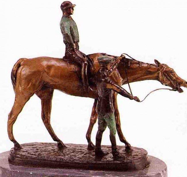 "18: ""Jockey & Groom"" Bronze Sculpture by Good"