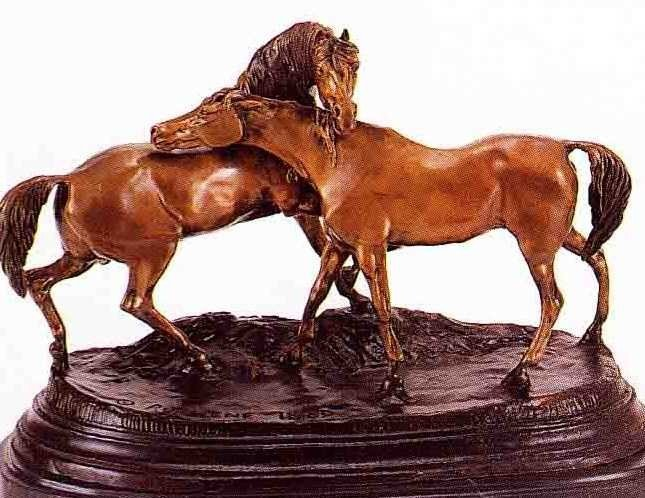 "30: ""L'Accolade"" Bronze Sculpture by Mene"