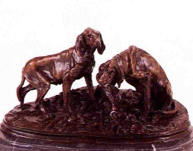"44: ""Groupe Chiens Au Repos"" Bronze Sculpture by Mene"