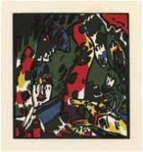 "1244: Kandinsky ""The Archer"" original color woodcut"