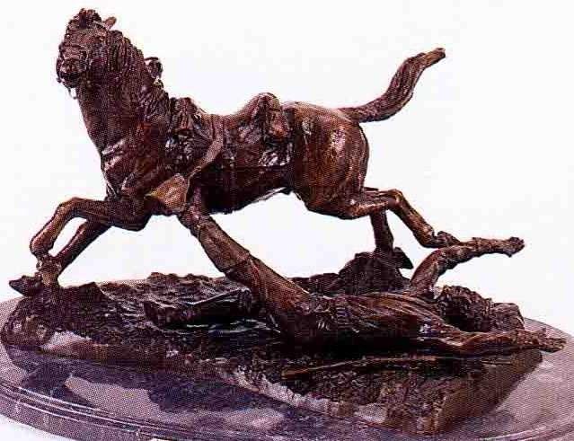 """9: """"Ambushed Picket"""" Bronze Sculpture by Remington"""