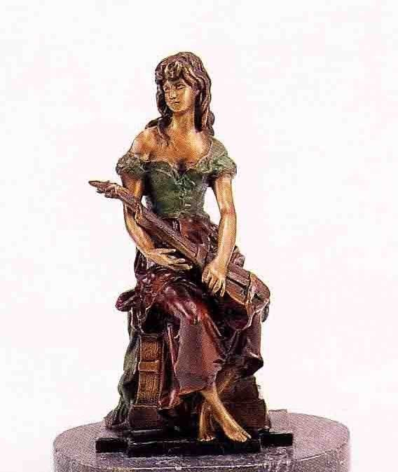 """11: """"Seated Mandolin Girl"""" Bronze Sculpture by A. Morea"""