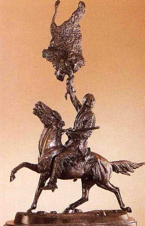"19: ""Buffalo Signal"" Bronze Sculpture by Remington"