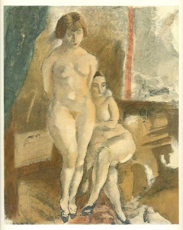 """7: Pascin """"Les deux modeles"""" lithograph"""