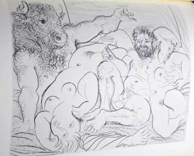 """1159: PICASSO """"DRINKING MINOTAUR WITH SCULPTOR  AND TWO"""