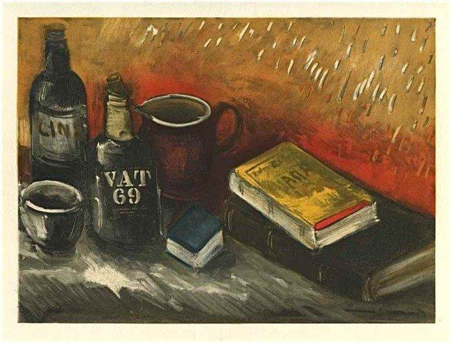 "1493: Vlaminck ""Still Life with Whisky Bottle"" lithogra"