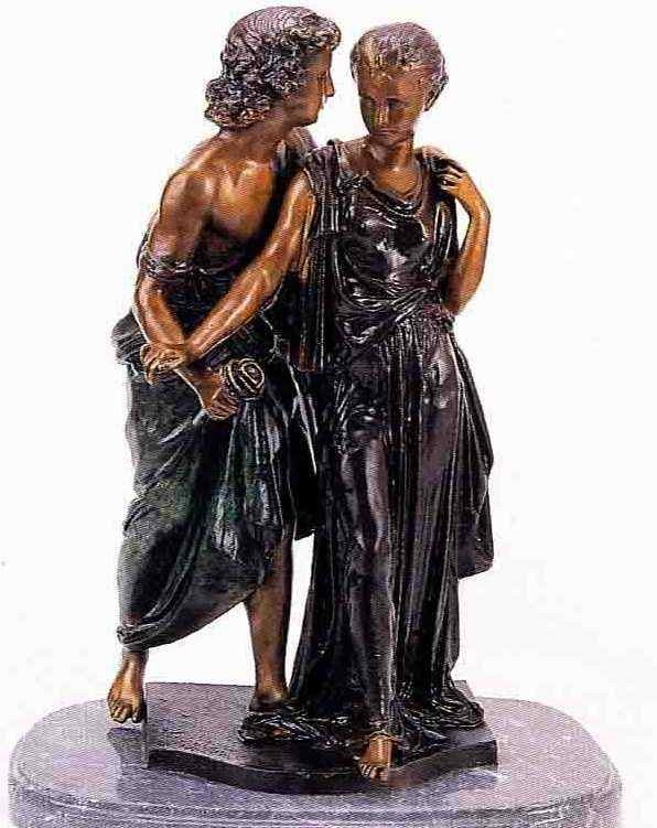 """9: """"Country Lovers"""" Bronze Sculpture - A. Moreau"""