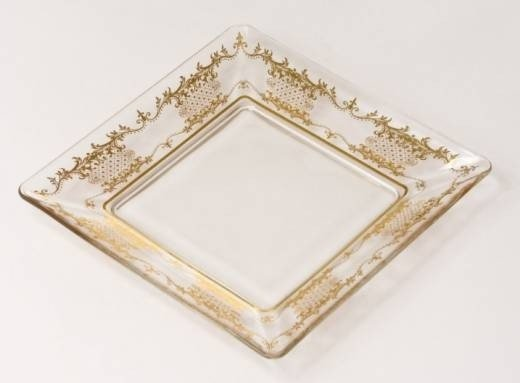 """23: Set Of 8 Square 6"""" Plates With Gold Artwork"""
