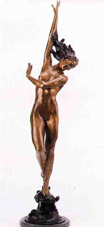 "37: ""Flowing In The Wind"" Bronze Sculpture - Fhighmuth"