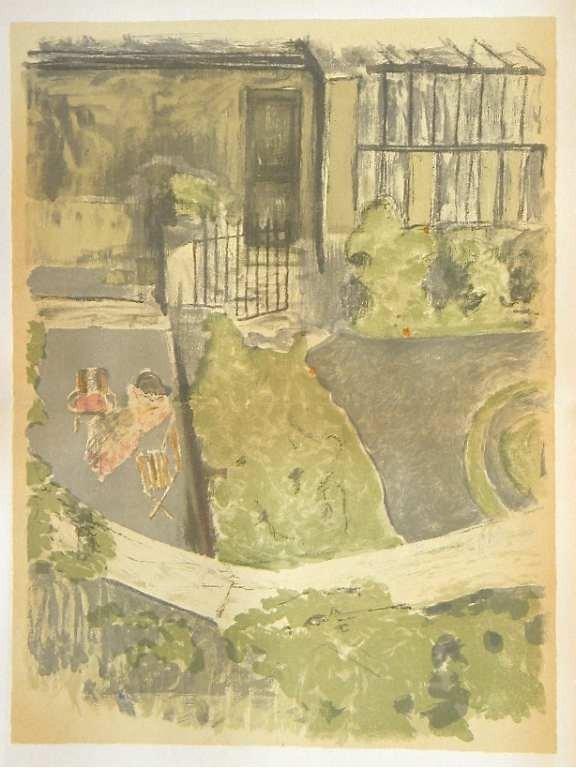 """13: Vuillard lithograph """"Le jardin devant l'atelier"""""""