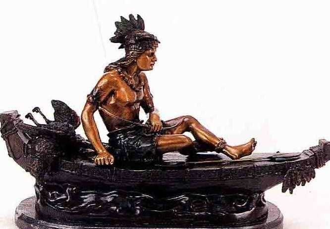 """15: """"Boy on the Boat"""" Bronze Sculpture - Russell"""