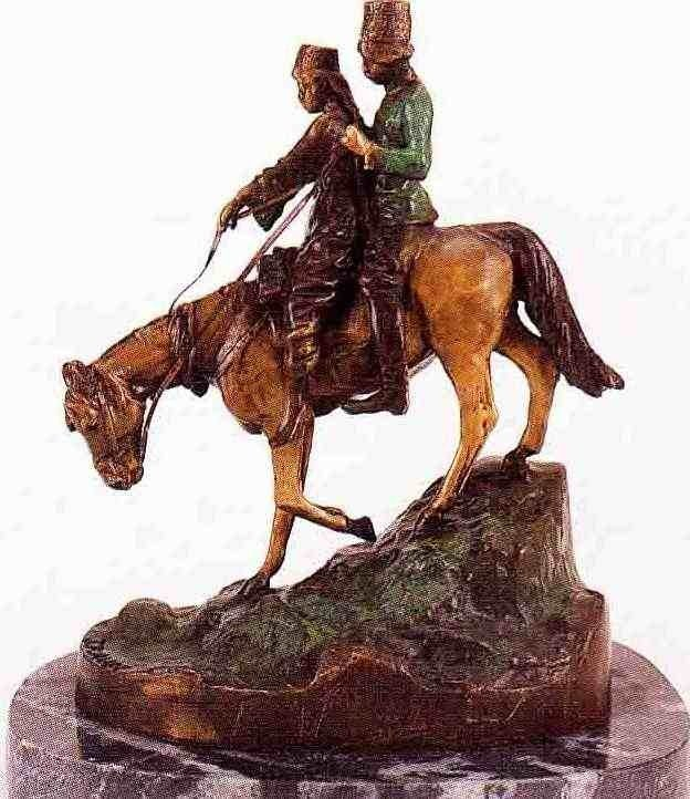 """85: """"Down The Steppes""""  Bronze Sculpture  - Aube"""